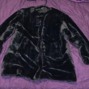Zara black cozy faux fad jacket